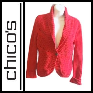 Chico's Red cable cardigan sweater
